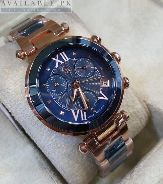 GC Guess Vista Blue Golden Tone Chronograph His Watch Price In Pakistan