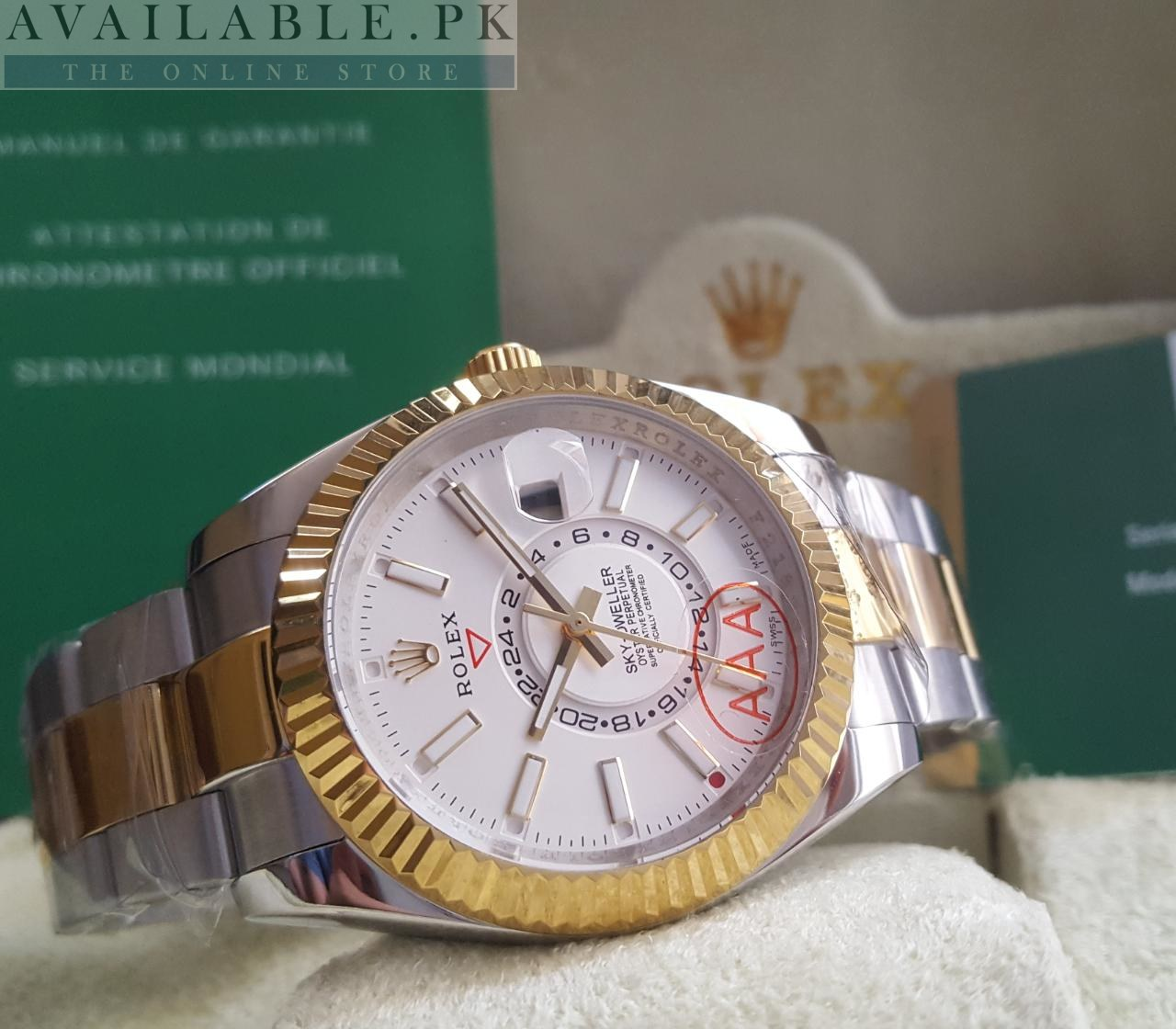 Rolex Sky Dweller Dual Tone White Dial Double Time Watch