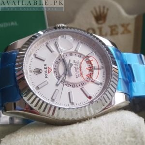 Rolex Sky Dweller Fluted White Dial Stainless Double Time Watch Price In Pakistan