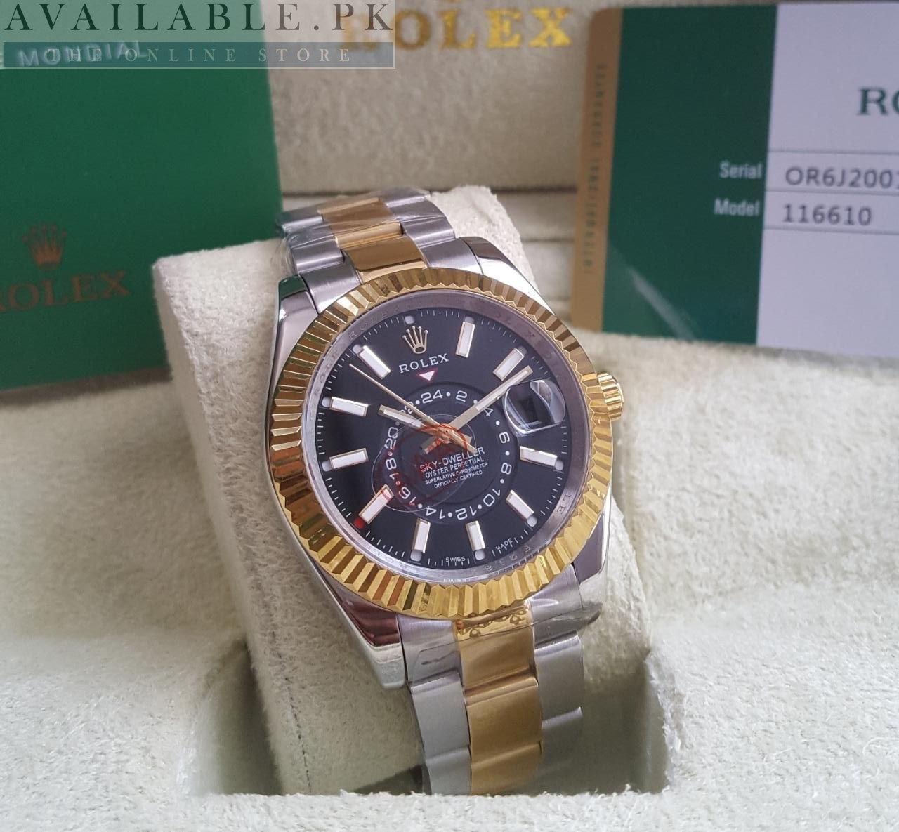 Rolex Sky Dweller Dual Tone Black Dial Double Time Watch