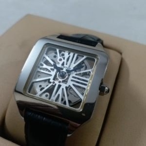 Cartier Silver Santos Dumont Skeleton Men Watch Price In Pakistan