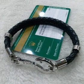Unisex Premium Rolex Black Leather Bracelet Price In Pakistan