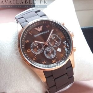 Emporio Armani Chronograph Brown Rubber Strap His Watch Price In Pakistan