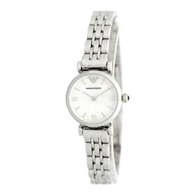 Emporio Armani Ladies Silver Stainless Steel MOP Dial Watch AR1763