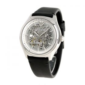 Emporio Armani Black Stainless Steel & Leather Watch AR60003
