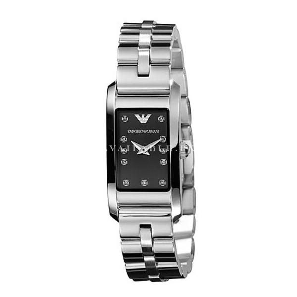 Emporio Armani Ladies Silver Black Dial Watch AR3166