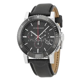Burberry Black Dial Chronograph Black Leather Mens Watch BU9382