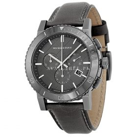 Burberry Chronograph Grey Dial Grey Leather Mens Watch BU9384