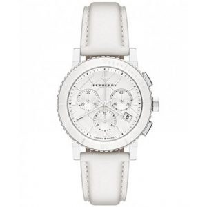 Burberry BU9701 Women's White Leather Dial Chronograph Watch