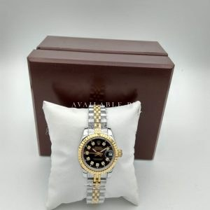 Rolex Two Color Black Dial 38mm With Stones Women Watch Price In Pakistan