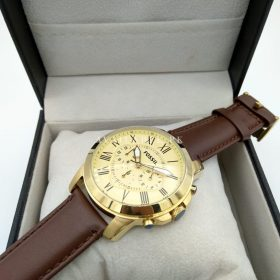 Fossil Golden Dial Brown Leather Belt Men Watch Price In Pakistan