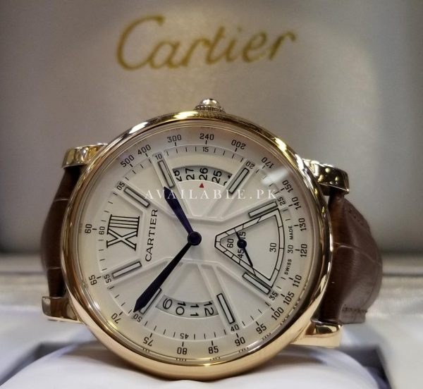 Cartier Chronograph Rose Gold Brown Belt Men Watch AAA Master Price in Pakistan