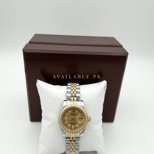 Rolex Two Color Golden Dial 38mm With Stones Women Watch Price In Pakistan