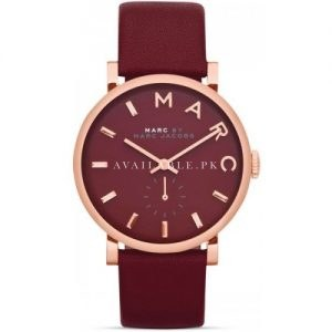 Marc Jacobs MBM1271 her Baker Maroon Leather Strap Maroon Watch
