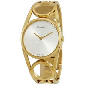CALVIN KLEIN SILVER DIAL GOLD WOMENS WATCH K5U2M546