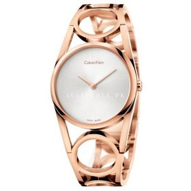 Calvin Klein Silver Rose Gold Stainless Steel Women's Watch K5U2M646