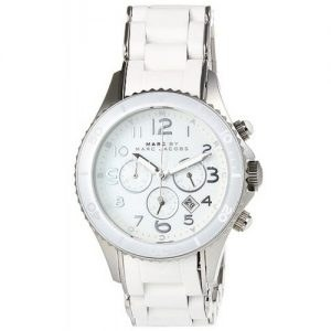 Product specifications Watch Information Brand, Seller, or Collection Name Marc by Marc Jacobs Model number MBM2545 Part Number MBM2545 Item Shape Round Dial window material type Mineral Display Type Analog Clasp Fold-Over Clasp with Double Push-Button Safety Case material Stainless steel Case diameter 40 millimeters Case Thickness 13 millimeters Band Material Stainless steel-plated Band length Women's Standard Band width 20 millimeters Band Color White Dial color White Bezel function Unidirectional Calendar Date Special features Chronograph, Luminous, measures-seconds Movement Quartz Water resistant depth 50 Meters