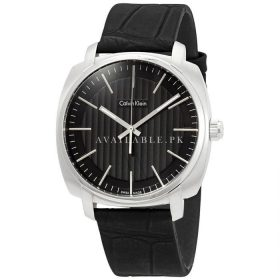 Calvin Klein Highline black leather strap Mens Watch K5M311C1