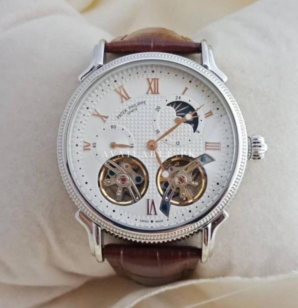 Patek Philipe White Dial Two Tourbillon Men Watch