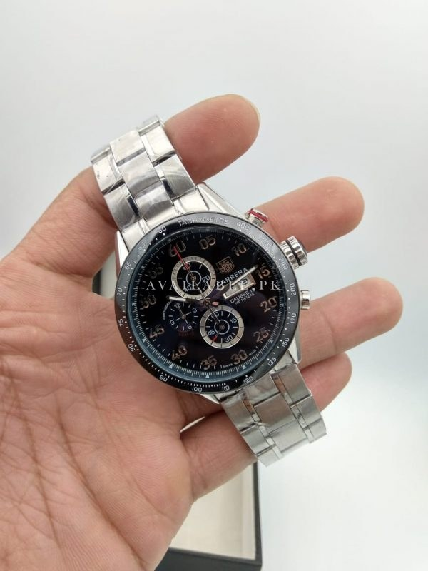 Tag Heuer Carrera 16 Chronograph Black Dial Silver Chain Men's Watch Price In Pakistan