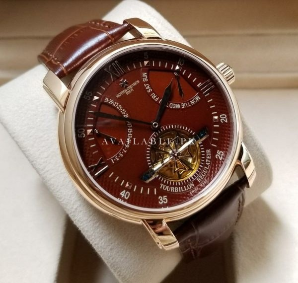 Vacheron Constantin Regulateur Maroon Dial Belt Men Watch