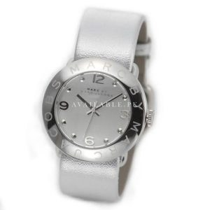 Marc Jacobs Mbm8626 Amy Silver Tonal Metallic Leather Watch