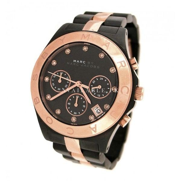 Marc Jacobs Two Tone Black Rose Gold Womens Watch MBM3180