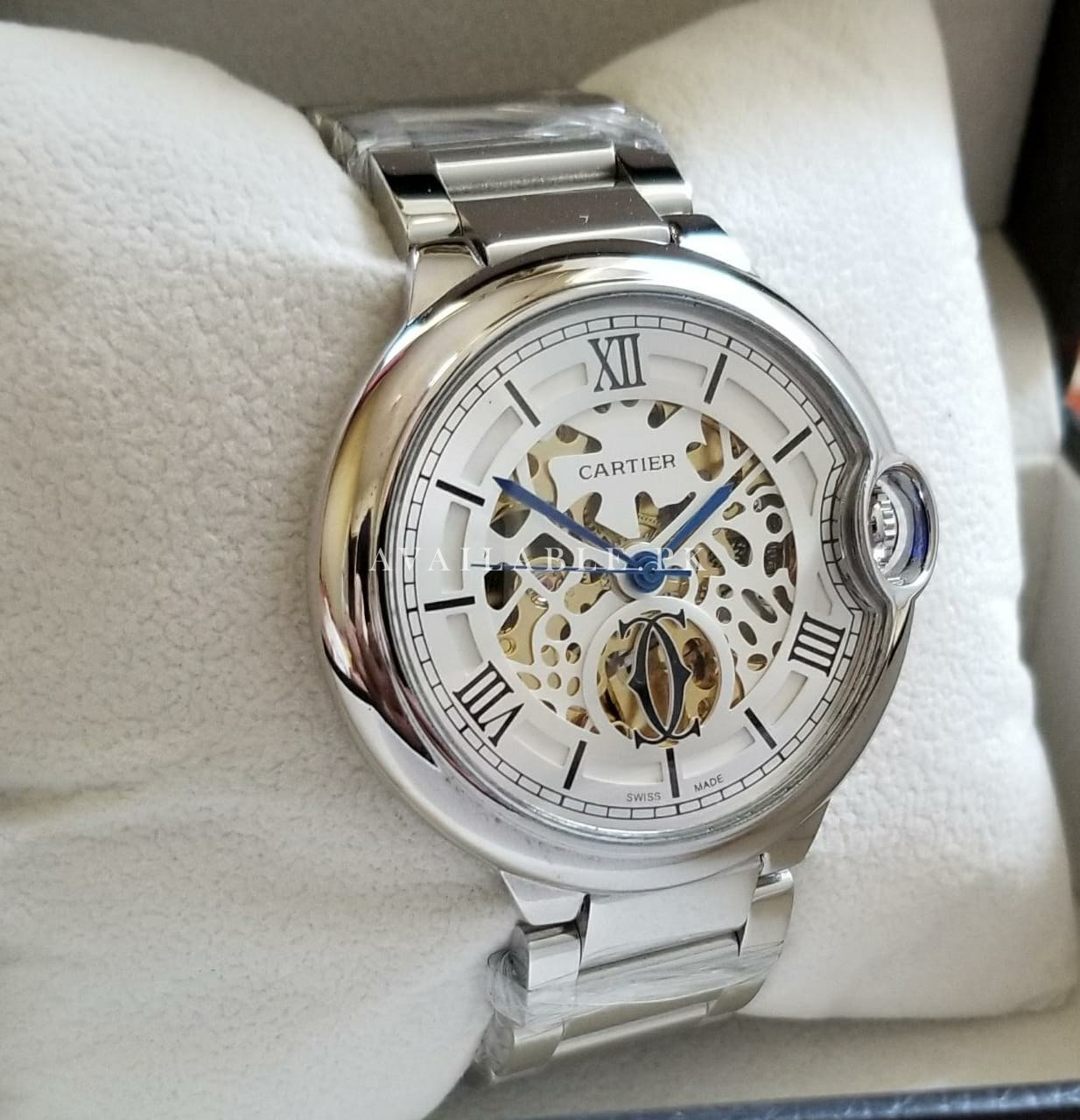 Cartier Balloon Silver Skeleton Dual Tone Automatic Mens Watch