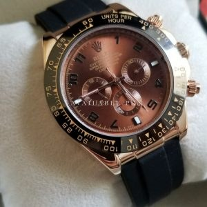effe8639fbab Rolex Daytona Brown Dial Pvc Belt Chronograph Automatic Watch Price In  Pakistan. Quick View