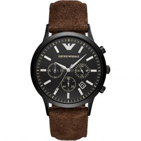 Armani AR11078 Brown Belt Black Chronograph Men Watch Price In Pakistan