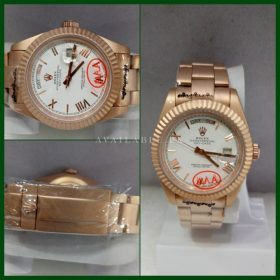Rolex Day Date Rose Gold Automatic White Dial Men Watch Price In Pakistan