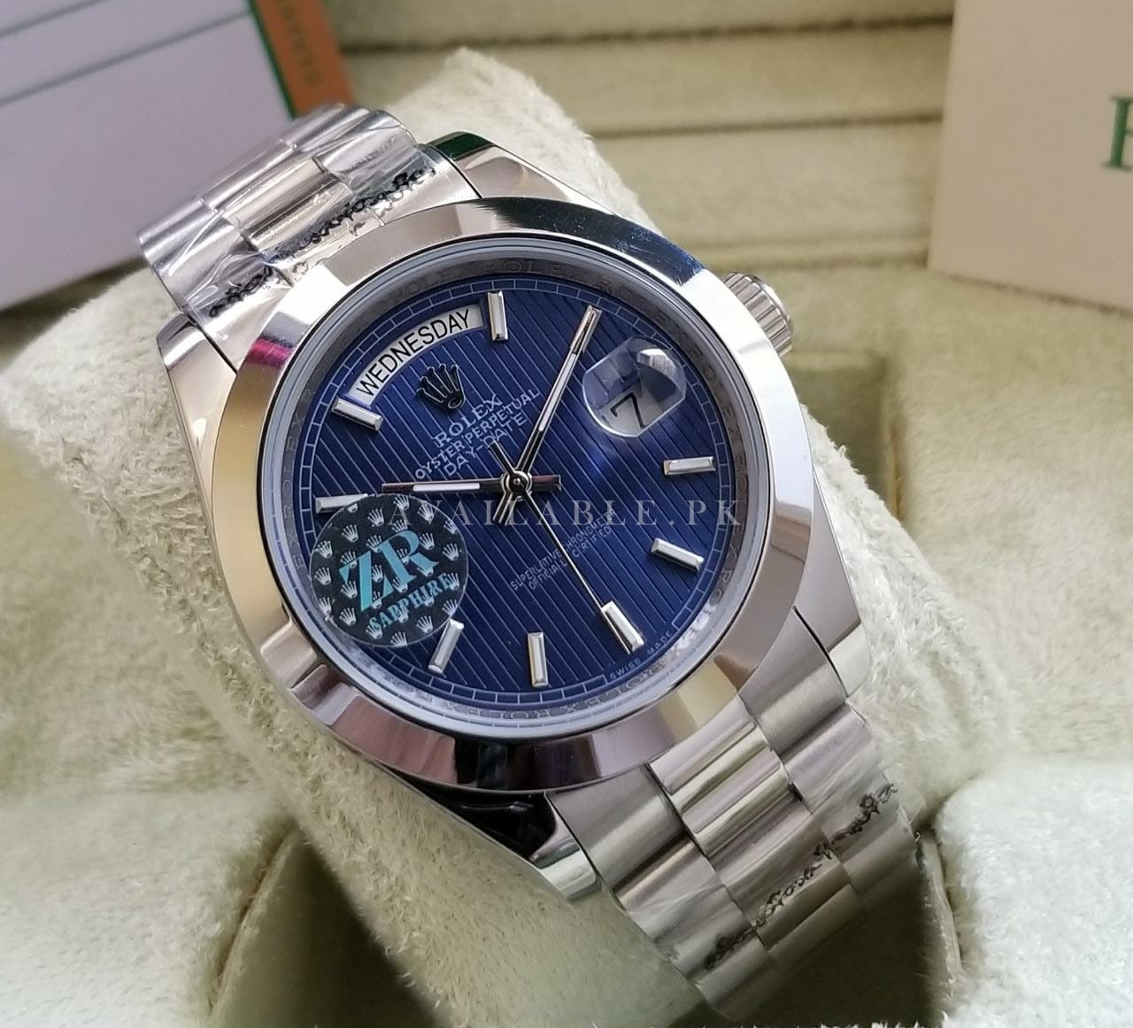 Rolex Oyster Perpetual Day Date Blue Dial His Watch