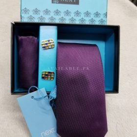 Next Original Three in One Neck Tie Set Embossed Purple