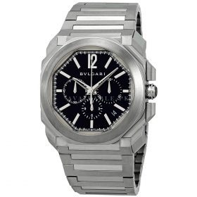 BVLGARI Octo Velocissimo Black Dial Stainless Steel Chronograph Mens Watch Price In Pakistan