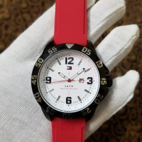 Original Tommy Hillfiger Satm Red Belt White Dial Her Watch Price In Pakistan