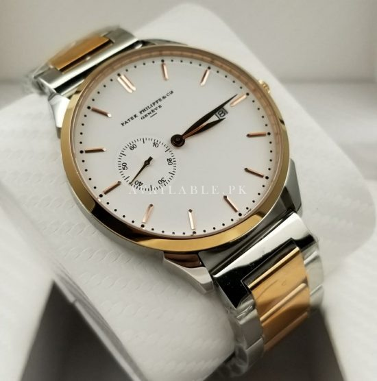 Patek Philippe White Dial Side Second Two Tone Mens Watch Price in Pakistan