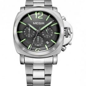 Megir MS3106G-1 Mens Stainless Steel Sport Chronograph Wrist Watch