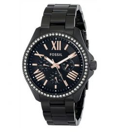 Fossil Womens AM4522 Cecile Crystal Accented Black Stainless Steel Watch Price In Pakistan