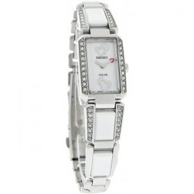Seiko SUP185 Womens Tressia Solar White Ceramic and Stainless Steel Bracelet Swarovski Elements Heart Logo Watch Price In Pakistan
