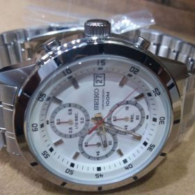 Seiko Chronograph White Dial Date Display 100M Men's Watch