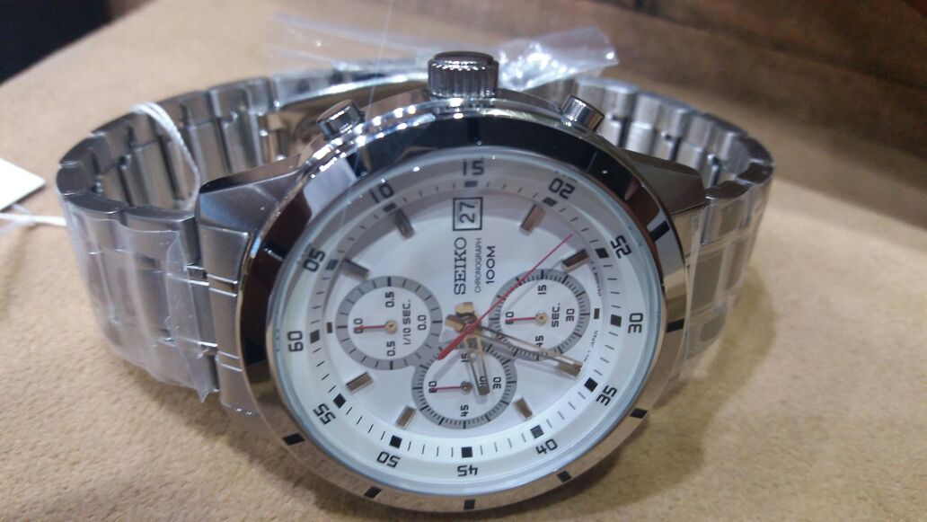 fe0dcc19f Seiko Chronograph White Dial Date Display 100M Men's Watch ...