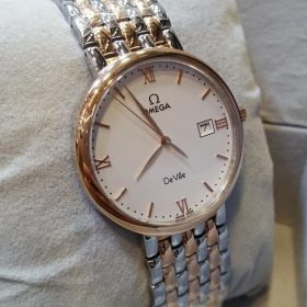 Omega Date Display Silver & Golden Men's Watch