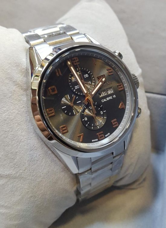 Tag Heuer Silver Chronograph Day Date Display Men's Watch