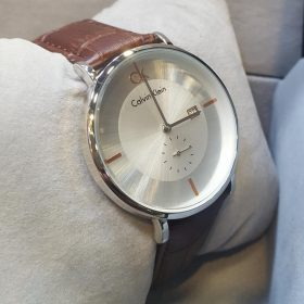 Calvin Klein Brown Leather Belt Silver Dial Men's Watch
