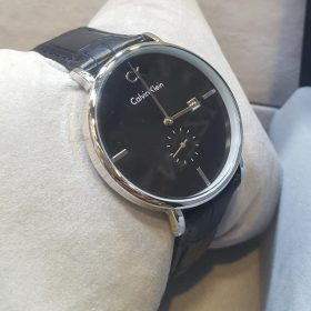 Calvin Klein Black Belt Chrome Case Black Dial Men's Watch