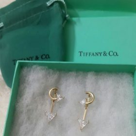 Tiffany & Co Anchor Shaped Golden Earrings With Embedded Diamonds Price In Pakistan