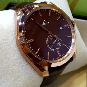 Omega Golden Bezel Maroon Dial Down Second Watch
