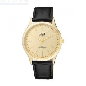 Q&Q Black Leather Golden Dial Men's Watch C212J100Y