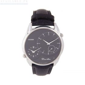 Citizen Black Leather Watch For Men - AO3021-09E