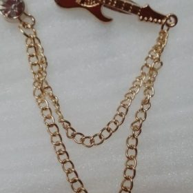 Lapel Pin Golden Chain With Maroon Rock Guitar In Pakistan